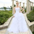 Custom Made A-line Cheap Wedding Dress Sweetheart Floor Length Ruffles High Quality Organza Wedding Gowns
