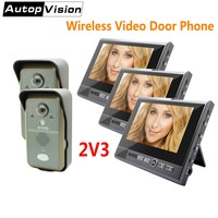 KDB702 2v3 Home Security Video Intercom System 7 Monitor Wireless Video Doorbell Door Phone With 2