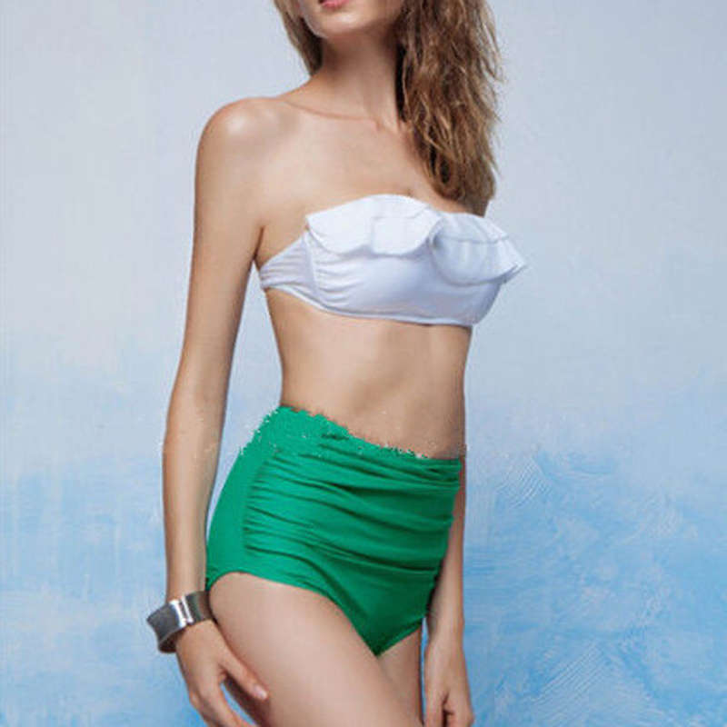 fe18a41cce3 Women Bikini Set Push Up High Waist Tube Top Swimwear Simple Slim Swimsuit  Biquini Bathing Suit White Green Color YC981064-in Bikinis Set from Sports  ...