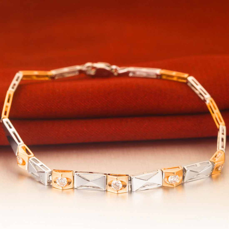 0.30ct/5pcs Natural Diamond Bracelet for Women 18K Two-tone Gold Wedding Engagement Handmade Fine Jewelry