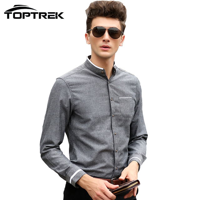 toptrek clothing men casual mandarin collar shirt fashion 2016 chemise homme marque camisas. Black Bedroom Furniture Sets. Home Design Ideas