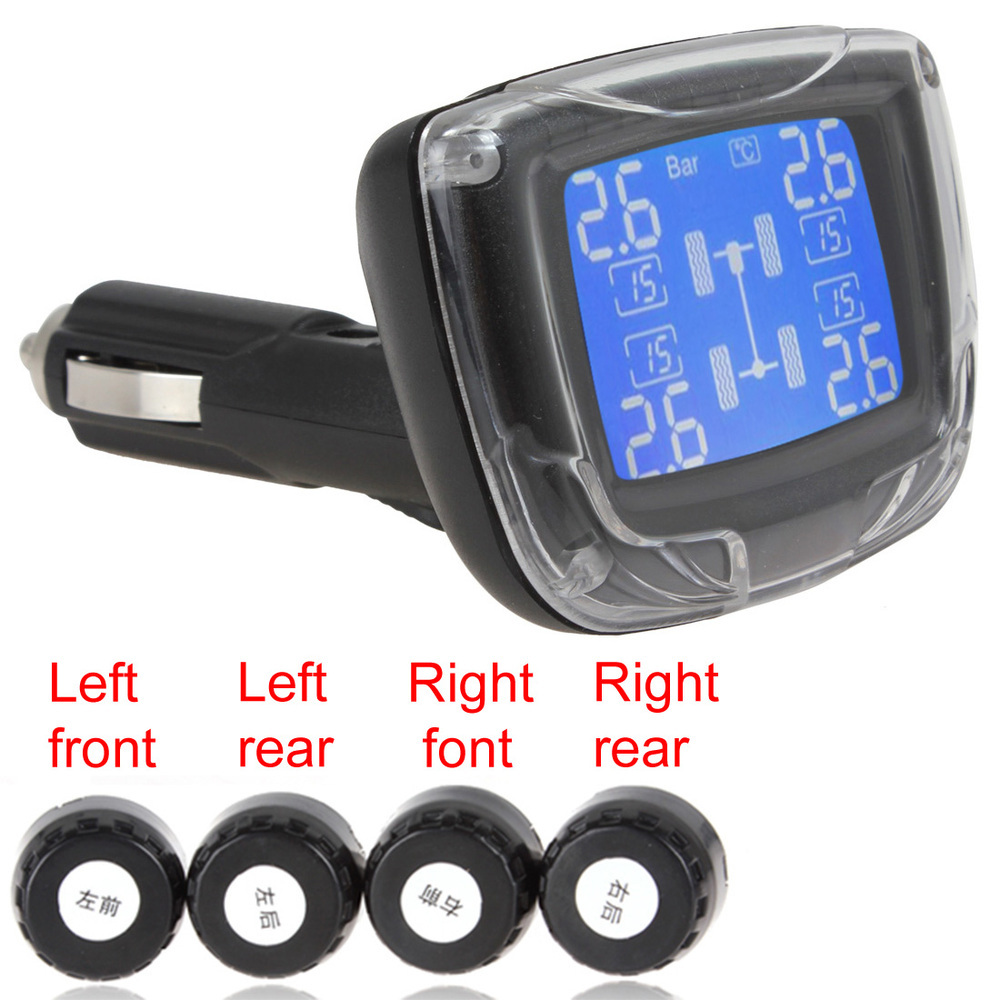 TPMS Wireless Tire Pressure Monitoring System Car Tire Monitor Pressure Auto Tyre Pressure with 4 Sensors & LCD Display