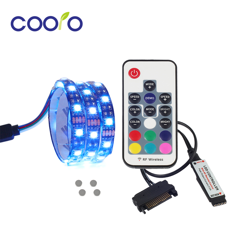Magnética Luz de tira del RGB LED kit completo para ordenador PC, interfaz de alimentación SATA, fija por imán, Control remoto color