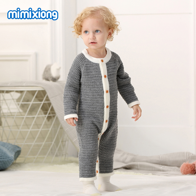 51e048c6358 Στερεό χρώμα μωρό Unisex Πλεκτά Romper Άνοιξη μακρύ μανίκι Βρεφικά ...