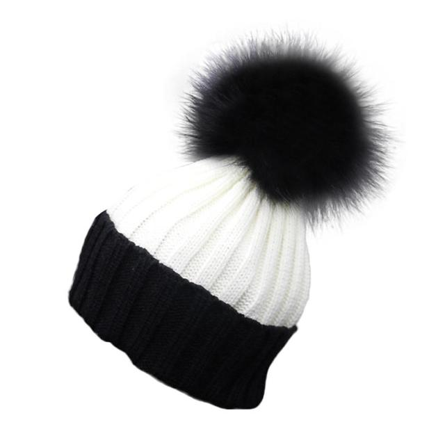 New Top Fashion Women Crochet Hat Fur Wool Knit Beanie Raccoon Warm Cap 100% Genuine Raccoon Pom gorras mujer vicky