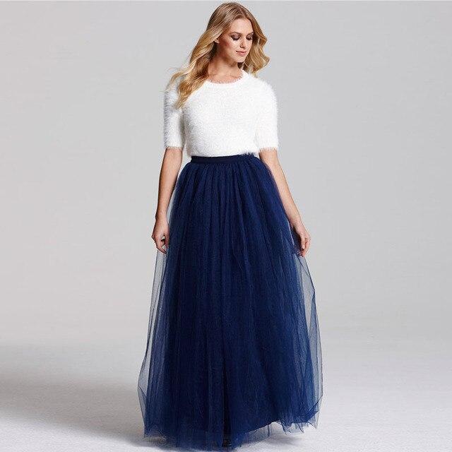 26e8a2c1f € 30.08 8% de DESCUENTO|5 capas 110 cm Faldas de tul largas mujeres  plisadas Maxi falda azul marino moda Boda nupcial dama de honor falda Jupe  en ...