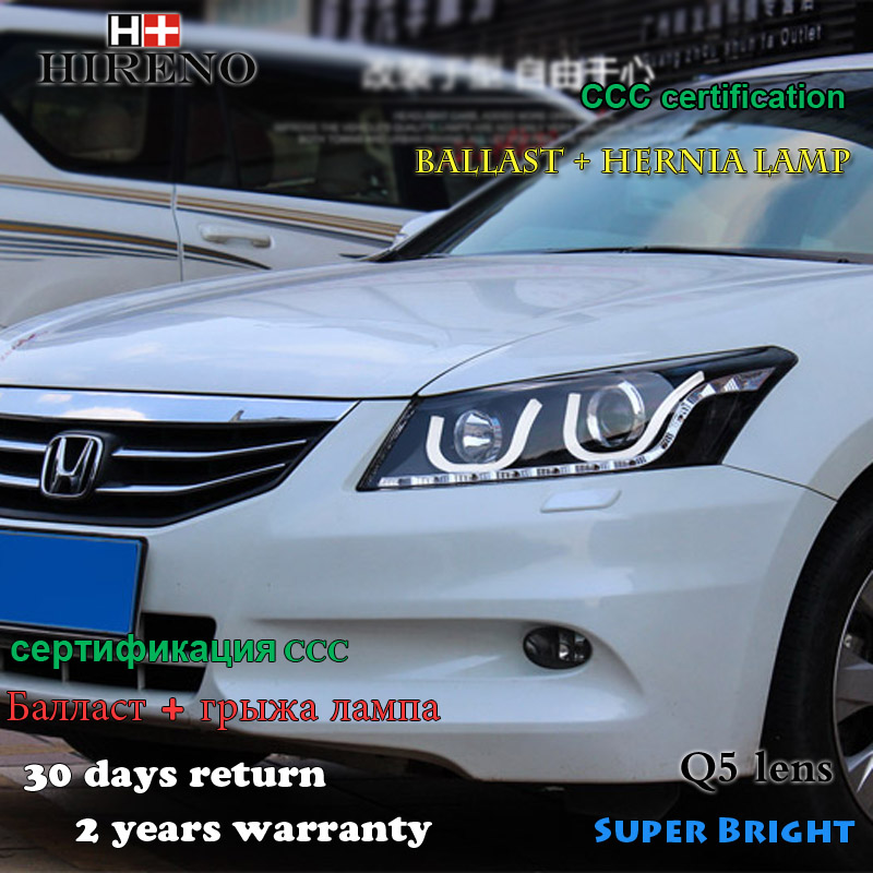Hireno Car styling Headlamp for 2008-2012 Honda Accord Headlight Assembly LED DRL Angel Lens Double Beam HID Xenon 2pcs hireno car styling headlamp for 2003 2007 honda accord headlight assembly led drl angel lens double beam hid xenon 2pcs