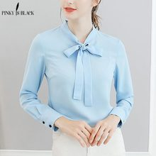 Pinky Is Black Women Spring Tops Chiffon Blouses And Shirts Ladies Solid Feminine Blouse Long Sleeve Blusas Femme
