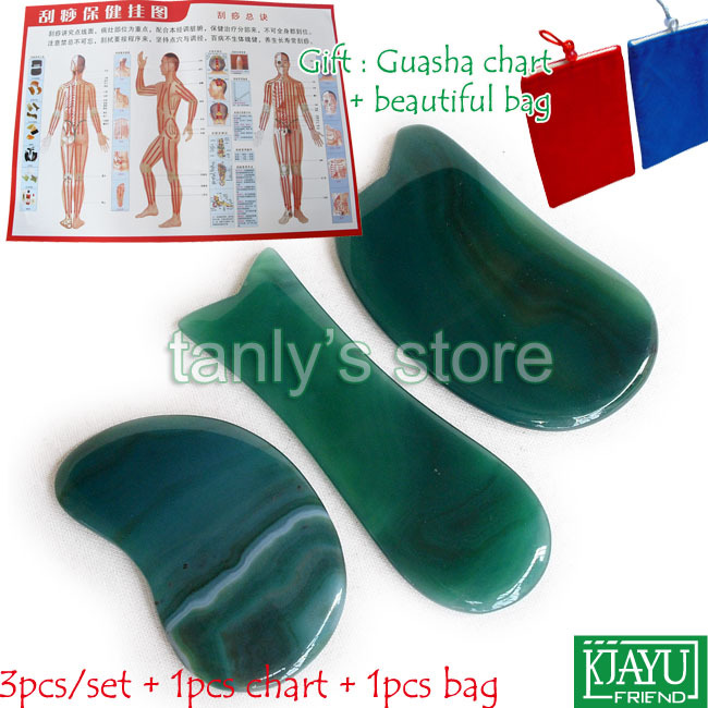 цены на Natural Green Agate Stone Massage Tool Guasha beauty Board (knife + kidney + fish shape) 3pcs/set в интернет-магазинах