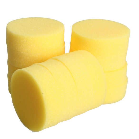 12 ピース/セットワックススポンジラウンド車ポリッシュスポンジ車ワックスフォームスポンジアプリケーターパッドを清掃車のガラスクリーナーケアツール黄色