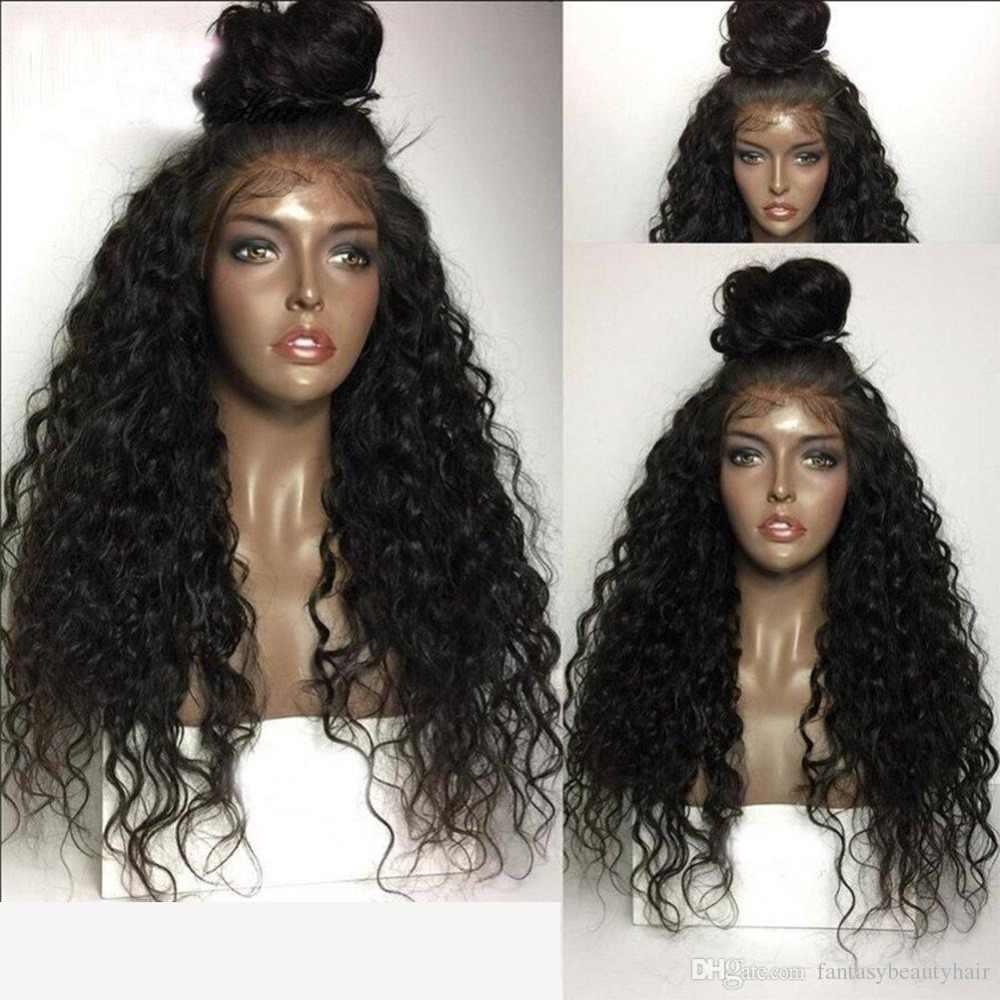 Fantasía belleza 180% densidad sin costuras Pre arrancado frente de encaje pelucas de pelo sintético rizado calor peluca Resistatn de fibra con el pelo del bebé