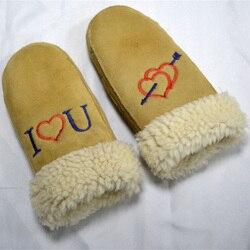 Mitaines de fourrure en peau de mouton véritable hiver chaud pour les femmes gants de mitaines en cuir véritable dame hiver