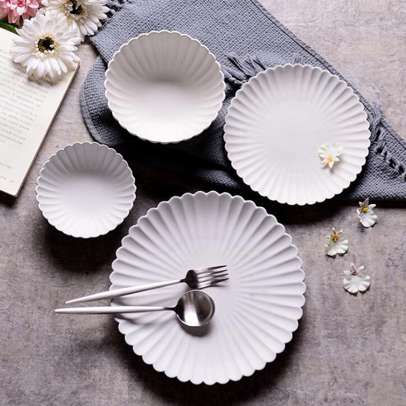 Porcelain Plate Pure Food Tray Simple Dinnerware Creative Tableware Kitchen Tools