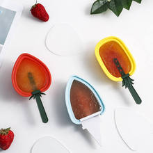 Silicone Ice Cream Maker Fruit Shape DIY Strawberry Pineapple Popsicle Mold With Lid Ice Lolly Pudding Form Mould Kitchen Tool