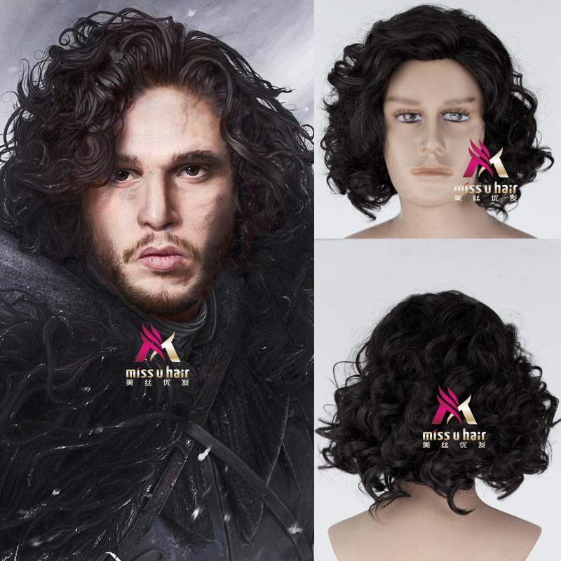 Hot movie Game of Thrones Cosplay Costume Accessories Wig Jon Snow Men Black Curly Short Synthetic Hair Adult