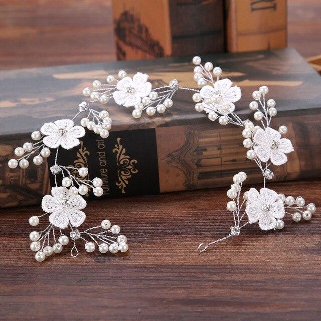 Ручной работы Банданы для мужчин для Для женщин белый кружевное платье с цветочным рисунком диадемы со стразами и жемчугом лентой Свадебные Корона Женские аксессуары для волос SL