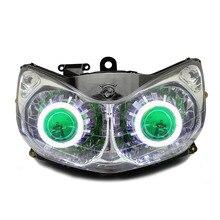 KT Headlight for Honda ST1300 Pan-European 2001-2016 LED Angel Eye Green Demon Eye Motorcycle HID Projector Assembly 14 13 12 11