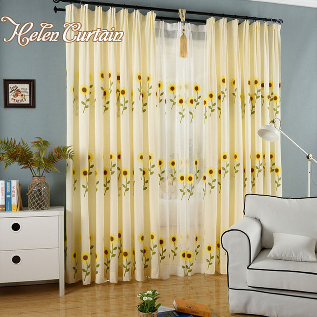 yellow curtains for living room. Embroidered Pastoral Sun Flowers Yellow Curtains For Living Room Finished  decorative curtains for bedroom White Tulle