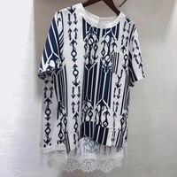 Европейские Блузки 2019 летние геометрические блузки с круглым вырезом воротник кружева блузки для женщин высокого качества
