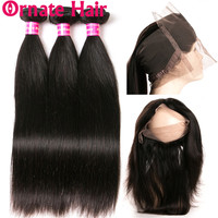 Ornate Hair 360 Lace Frontal Closure With Bundles Brazilian Straight Human Hair Weave Bundle With 360 Front Pre Plucked Non Remy