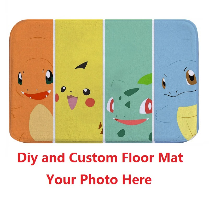Pokemon Bath Mat Custom Printed Carpet Suede Non Slip Absorbent Shower  Bathroom Mat Toilet Rugs Kitchen