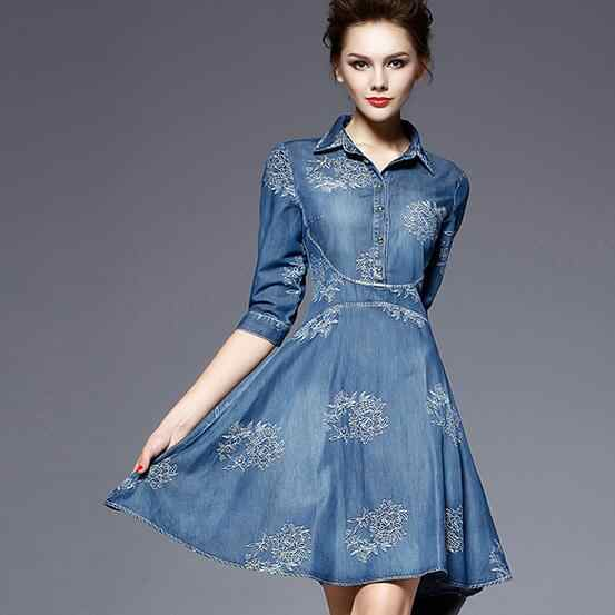 27f6833640 ... 2019 Denim Dress Women Plus Size Tunic Slim Embroidery Summer Style  Short Sleeve Slim Casual Jeans ...