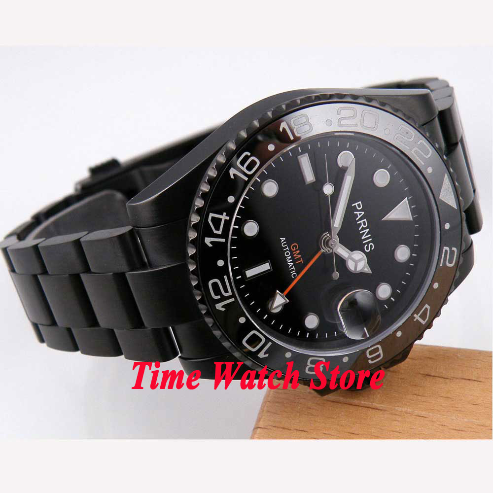 40mm parnis black dial GMT luminous ceramic bezel PVD case sapphire glass automatic movement men's watch 184 relogio masculino 40mm parnis black dial ceramic bezel pvd case luminous vintage sapphire automatic movement mens watch p145