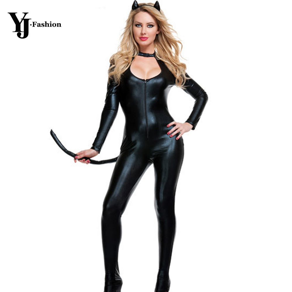 YJ Fashion Long Sleeve Halloween Costumes For Women Adult Cat Anime Catwoman Cosply Clothing 2017 Black Gothic Sexy Lingerie On Aliexpress