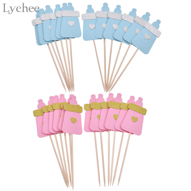 Lychee 12pcs/lot Baby Feeding Bottle Cupcake Toppers Blue Pink Baby Shower Cake Decoration Kids Favors Supplies