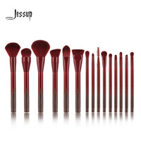 Jessup 15pcs Winered Makeup Brushes Set Powder Foundation Eyeshadow Eyeliner Lip Contour Concealer Smudge Make Up