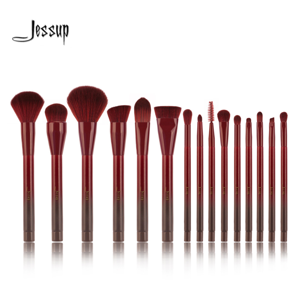 Jessup 15pcs Winered Makeup Brushes Set Powder Foundation Eyeshadow Eyeliner Lip Contour Concealer Smudge Make up Brush Tools 10pcs makeup brush set jessup synthetic hair beauty tools cosmetics kits make up brushes foundation powder eyeliner concealer