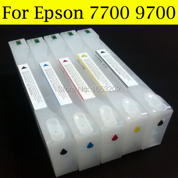 5 PCS With Chip and Resetter Refillable 7700 9700 Ink Cartridge For Epson 7700 9700 large Format Printer new t5971 t5974 t5978 empty refillable ink cartridge for epson stylus 7700 9700 7710 9710 with arc chips with one resetter