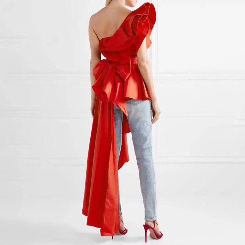MIAOQING asymétrique chemise hauts femme épaule dénudée à lacets irrégulière à volants Sexy Blouse femmes mode 2018 automne nouveau - 4