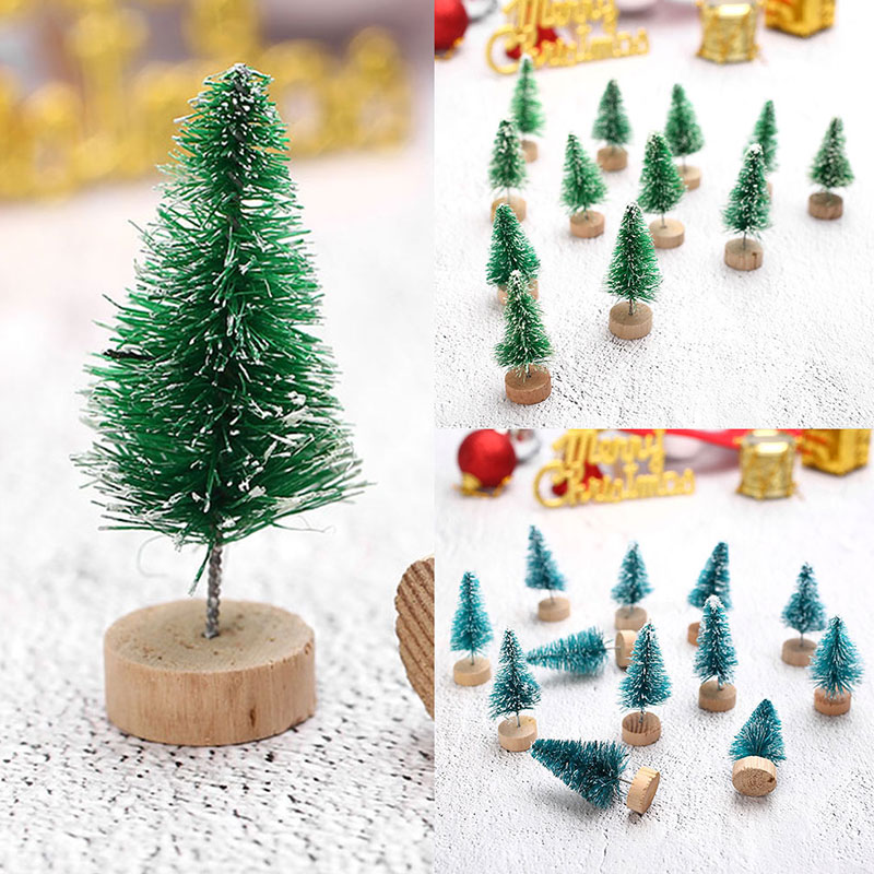 Cute Mini Sisal Fiber Christmas Tree DIY Craft Desktop Decorations Ornaments Santa Snow Frost Village Putz House Mini Decoration image
