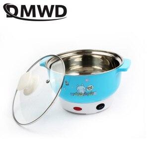 Image 4 - Dmwd mini panela de aquecimento elétrica, recipiente de aquecimento multifuncional de aço inoxidável para macarrão, arroz, vapor, ovos a vapor, pote de sopa, 2l ue eua