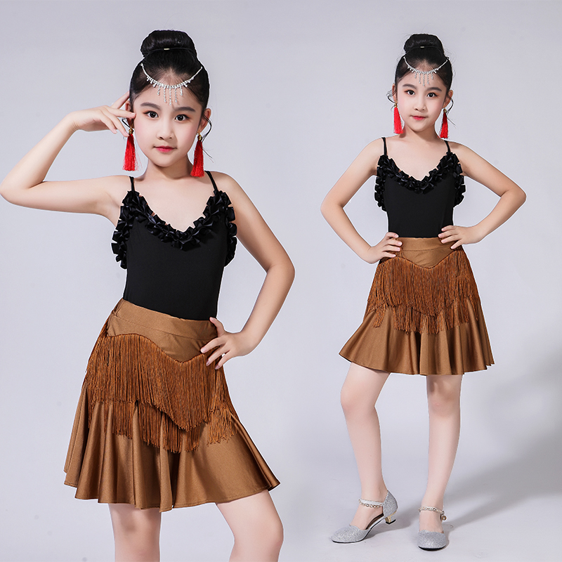 New Sleeveless Children Latin Dance Competition Dresses V-neck Tassel Sling Dress Tango/salsa/rumba/modern Latin Dance Costume