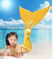Free shipping children girls ariel full sequins beading mermaid fish tail with bra costume mermaid cosplay