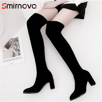 Smirnova HOT SALE 2018 ladies high heels over the knee boots big size suede leather long boots woman thigh high boots winter