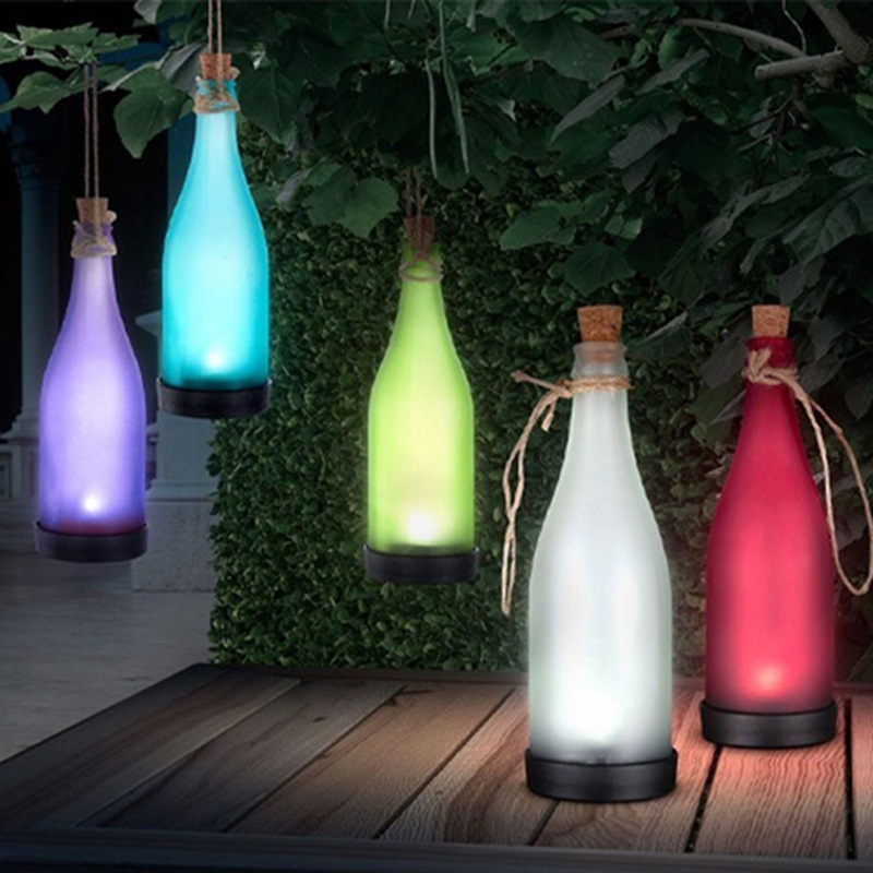 One Set 5 Pieces Creative Solar Wine Bottle Lamp Outdoor Decoration Lamp LED Molding Lamps Plastic Wine Bottle Solar Lamp lights