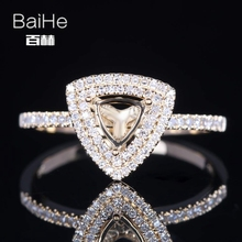 BAIHE Solid 14K Yellow Gold(AU585) Certified Trillion Engagement Women Trendy Fine Jewelry Elegant unique Semi Mount Gift Ring