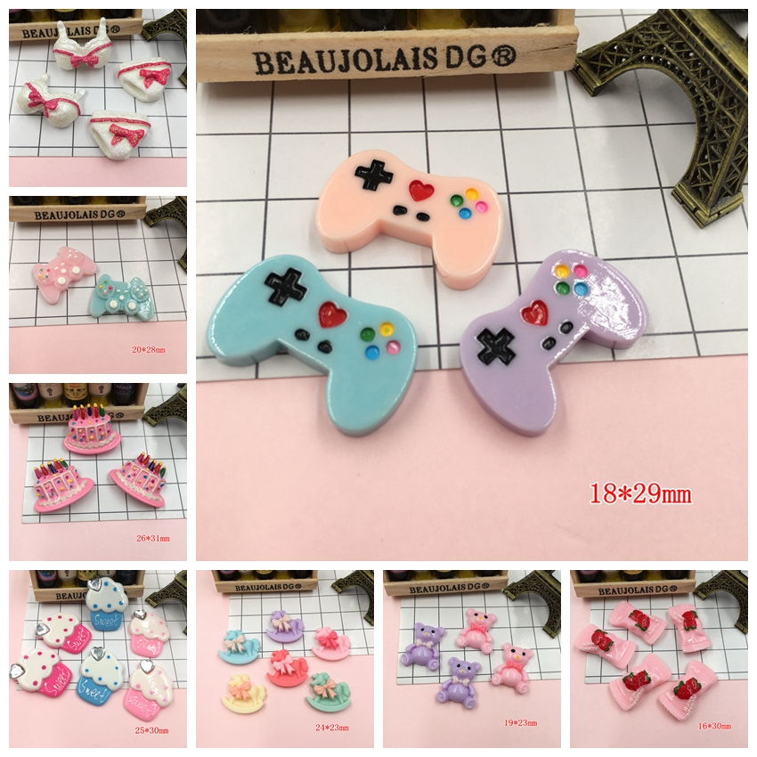 Resin Kawaii Birthday Cake, Cute Game Player, Horse Flat Back Cabochons For Hair Bow Center,Scrapbooking, DIY