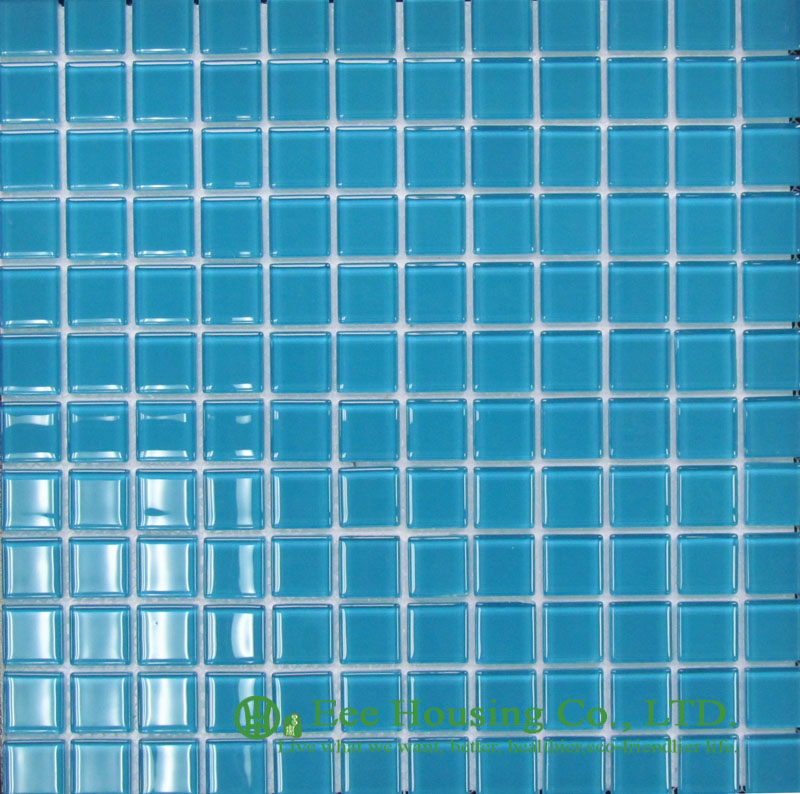 300mm*300mm Crystal  Mosaic Tile For Swimming Pools, Blue Color