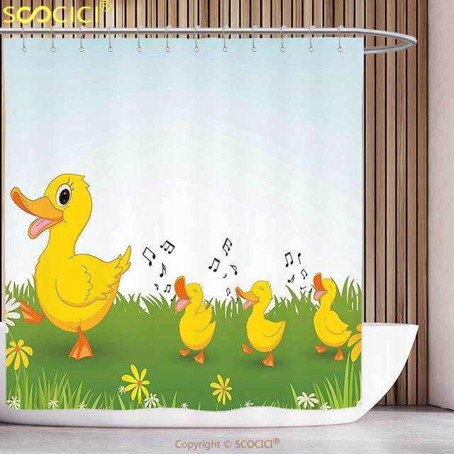 Fun Shower Curtain Cartoon Mother Duck and Babies Walking and ...