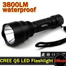 3800lm C8 LED Flashlight Hunting Torch Q5 Led Torch light lantern nitecore Waterproof For 1x18650 ZK70