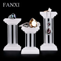 FANXI Free shipping White Acrylic Jewellery Display for Shop Counter and Window Exhibitor Matte Acrylic Ring Showcase Set Stand