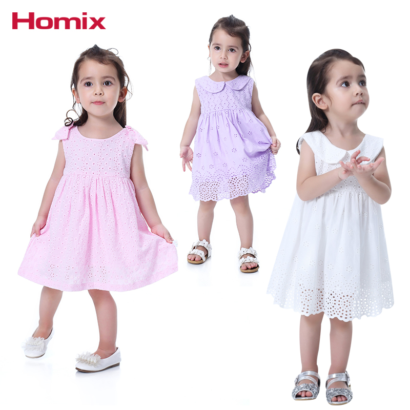 Homix 6-36months Baby Girl Princess Lace Dresses Clothes 100% Cotton Summer Sleeveless C ...