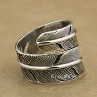 925 Sterling Silver Feather Mens Biker Rocker Punk Ring 9W014 Free Size 7 To 11
