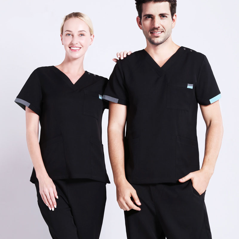 Clearance Core Stretch Nurse Uniform Medical Scrubs Work Suit For Women And Men Short Sleeve V Neck Dentist Workwear SPA Suits