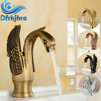 Wholesale And Retail Swan Style Bathroom Sink Faucet Solid Brass Hot And Cold Water Mixer Tap