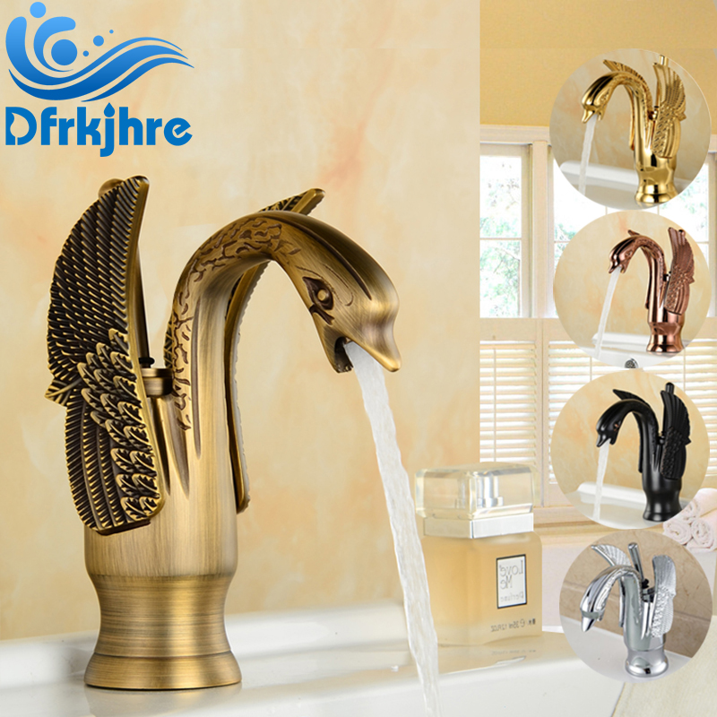 Wholesale and Retail Swan Style Bathroom Sink Faucet Solid Brass Hot and Cold Water Mixer Tap wholesale and retail swan bathroom sink faucet solid brass hot and cold water taps antique brass